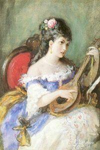Strings femme à jouer - (Carl Larsson)