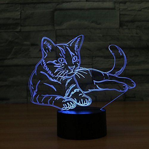 3d Optische Illusions Lampe Im Niedlichen Katzen Design Tolle Geschenkidee Fur Katzenfans Diese Lampe Wechselt Die Farbe Nachtlicht Nachtleuchte Leuchttisch