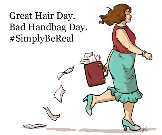 Great Hair Day. Bad Handbag Day. Well, you can't have it all ;) #SimplyBeReal