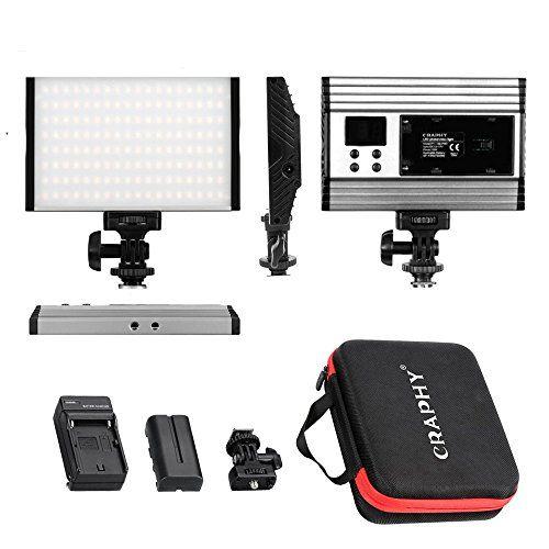 Craphy Luz De Video Con Pantalla Lcd Bateria De Li Ion Y Cargador 144 Leds Bi Color 3200k 5600k 15w Foco Led Camara Para Camara Vid En 2020 Pantalla Lcd Led Focos