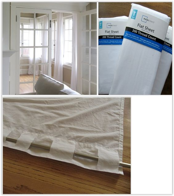 Curtains Ideas curtains made from bed sheets : $5 Curtains Made From Walmart Sheets ... curtains out of cotton ...
