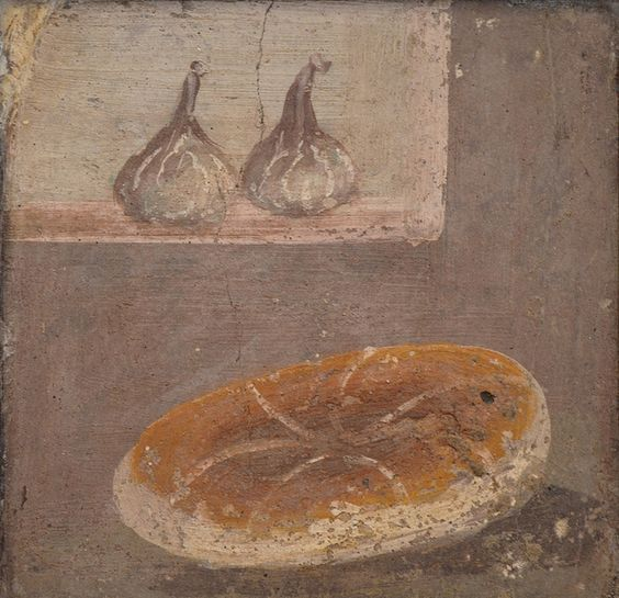 Fresco showing a piece of bread and two figs, from Pompeii, Naples National Archaeological Museum | by Following Hadrian