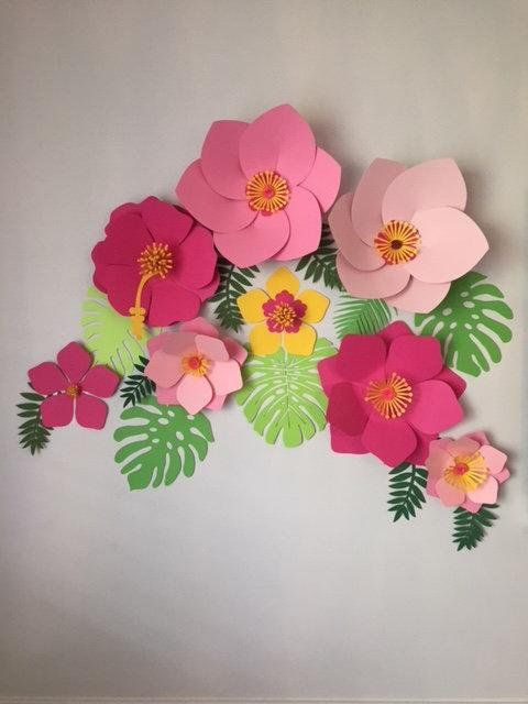 Moana Paper Wall Flowers 8 Flower Set With Leaves Christmas Wall