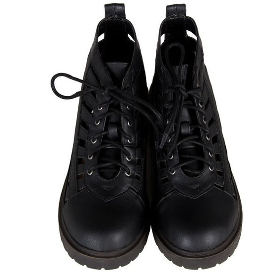 Cut It Out Laced Up Boots Black ($38) ❤ liked on Polyvore featuring shoes, boots, ankle booties, clothes - shoes, black cut out boots, cut out booties, cutout booties, lace up boots and strappy booties