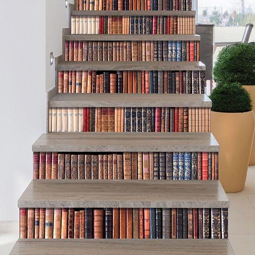 Contremarches Adhesive Bibliotheque En Trompe L Oeil Pour Escaliers Bibliotheque Escalier Sweet Home