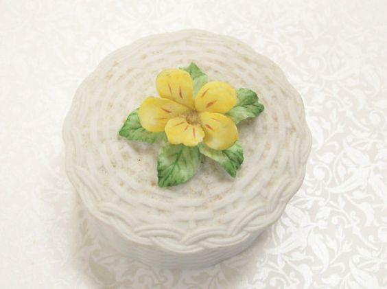 Porcelain Trinket Box Pansy Basket Lefton Yellow White Jewelry Vintage