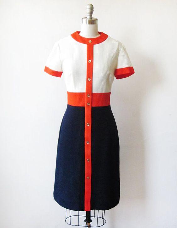 Vintage 60s mod dress / 1960s color block mod scooter dress / navy ...