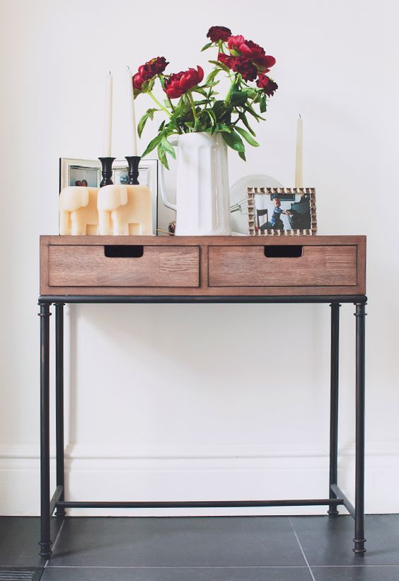 Front Foyer Table : Mixed material console table threshold™ rustic modern