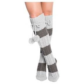 MUK LUKS® Women's 1-Pair Knee High Cable Socks - Grey One Size Fits Most : Target