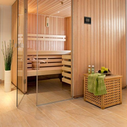 Sauna mit Thera-Med Infrarotstrahler im Fitnessraum im Keller - sauna designs zu hause