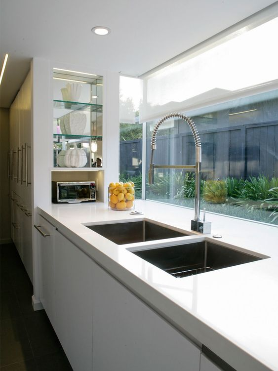 Large double sink and window splashback house ideas for Sink splashback ideas