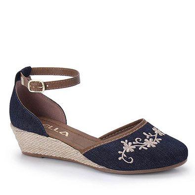 Sapato Anabela Espadrille Feminino Bella - Jeans