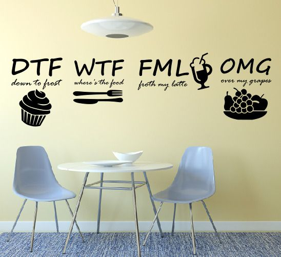 Décor Decals Stickers Vinyl Art Wall, Dining Room Wall Decals