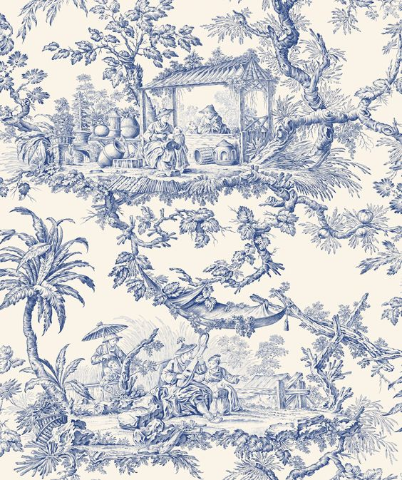 Toile de Jouy-- a touch of Asian with French will bring joy to any room