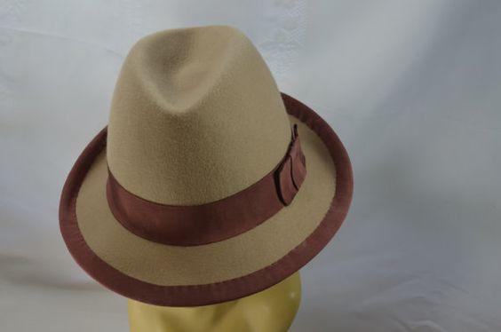 b8917f2b5680e Beige Brown Hat Short Homburg   Fedora   Men Women Fur Felt