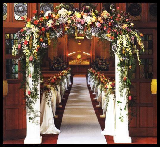 Church decorations using salvaged columns