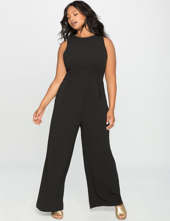 Plus Size Lace Up Back Jumpsuit -- Click on the image for additional details.