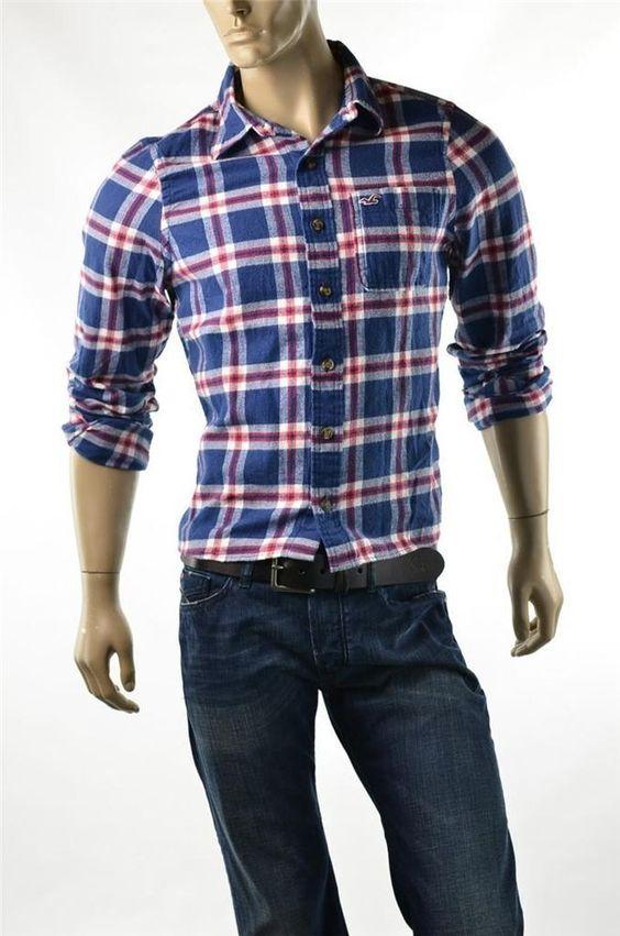 Hollister By Abercrombie Men's Brush Cotton Button Up Shirt Slim Shirts Sz M NWT #Hollister #ButtonFront