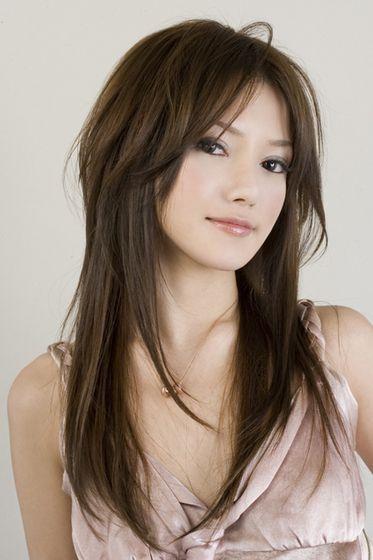 Inspiration coupe frange cheveux long dégradé