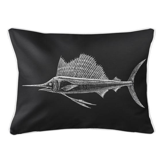 Sailfish Black Lumbar Pillow In 2020 Lumbar Pillow Outdoor Pillows Pillows