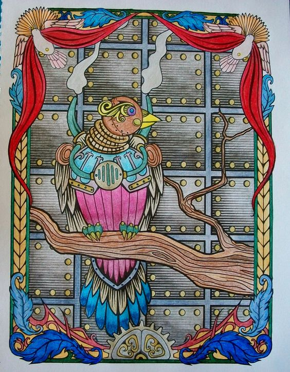 From the Creative Haven coloring book, Steampunk Devices. Done with colored pencils.
