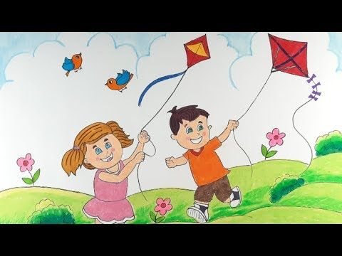 Scenery Of Kite Flying Kids Makar Sankranti Festival Kids Flying Kite Drawing Youtube Drawings Kids Art Projects Fly Drawing