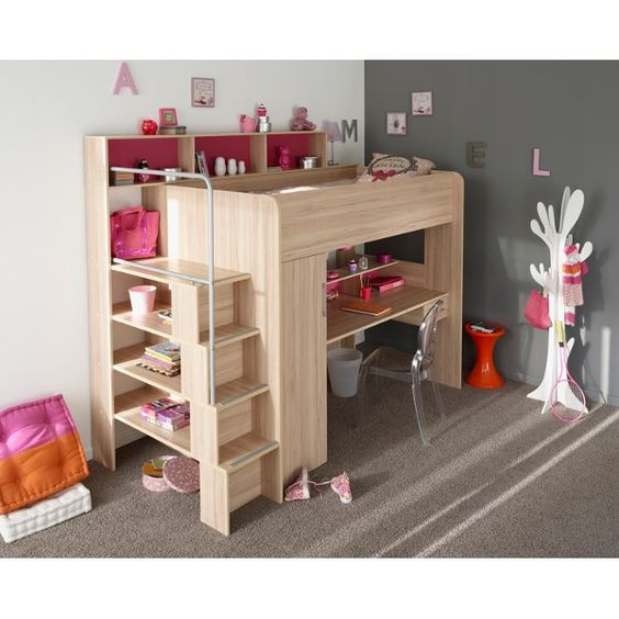 parisot between 2 hochbett multifunktionsbett natur holz. Black Bedroom Furniture Sets. Home Design Ideas