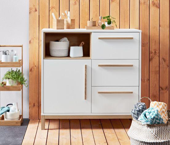 169 00 Dieses Sideboard Aus Unserer Stylischen Nordic Bad Serie Ist Im Klaren Skandinavischen Design Gehalten In 2021 Side Board Sideboard Skandinavisches Design