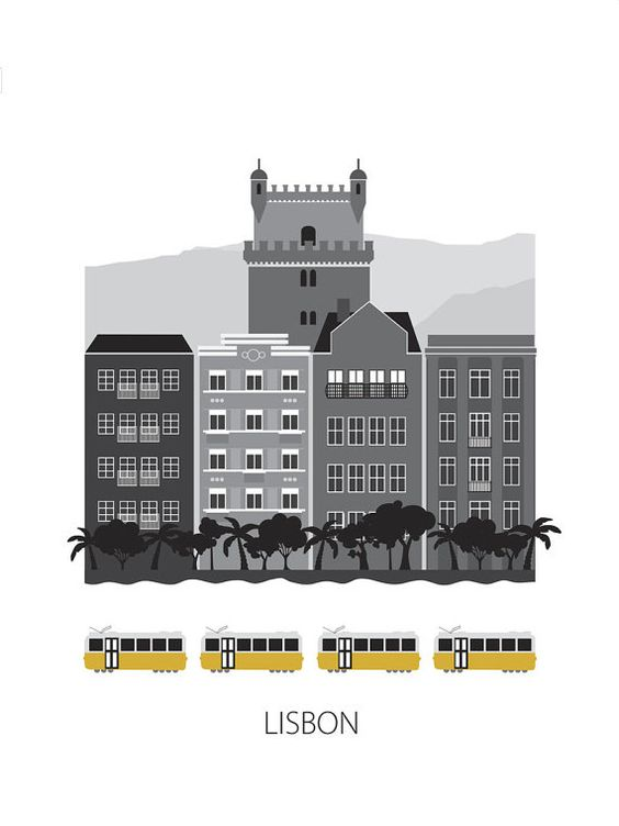Modern illustration Modern print of Lisbon with Belem Tower, typical portuguese houses, palm trees and Lisbon trams.  - Printed on 200g Epson Premium