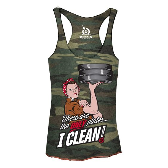 These are the only plates I clean!  Rosie lifting camo tank - oh hell yes!
