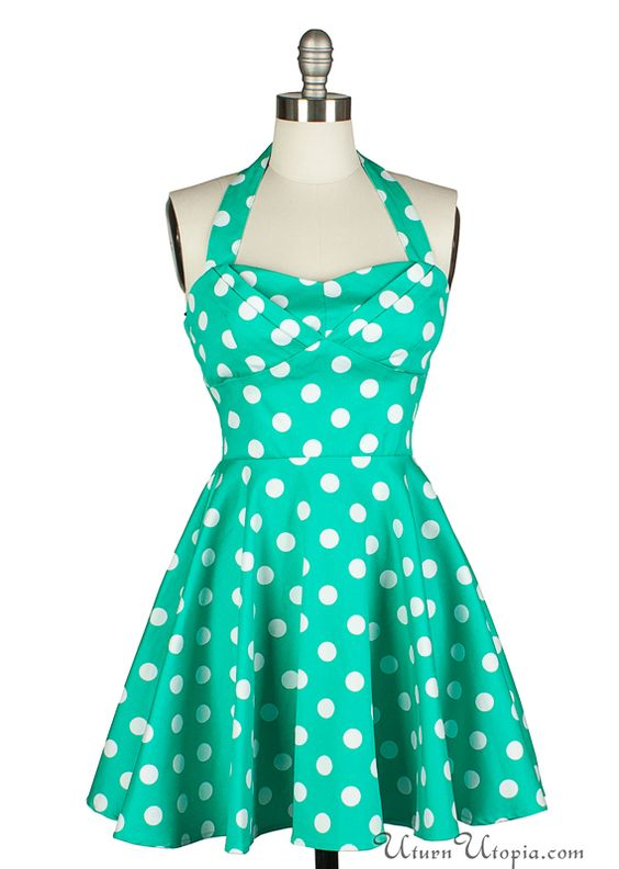 Green Polka Dot Vintage Style Halter Dress / Pin Up Rockabilly ...
