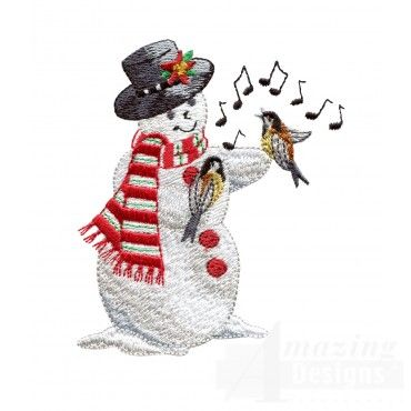 Snowman With Singing Birds
