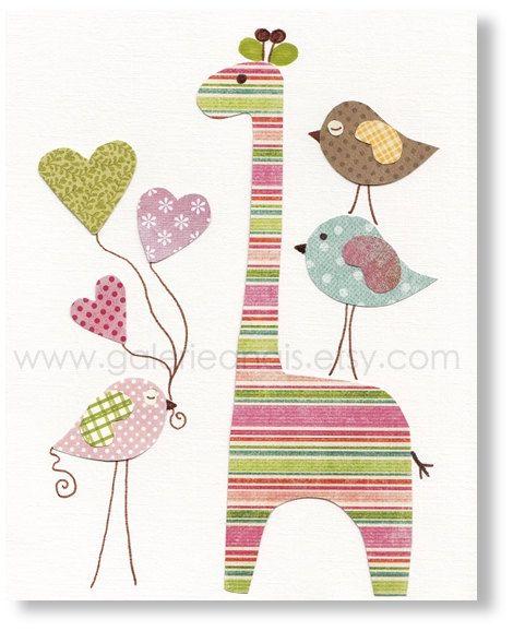 kids wall art, nursery art print, nursery decor, baby nursery, kids room decor, nursery wall art, Birds, Giraffe, Like A Rainbow 8x10 print. $14.00, via Etsy.