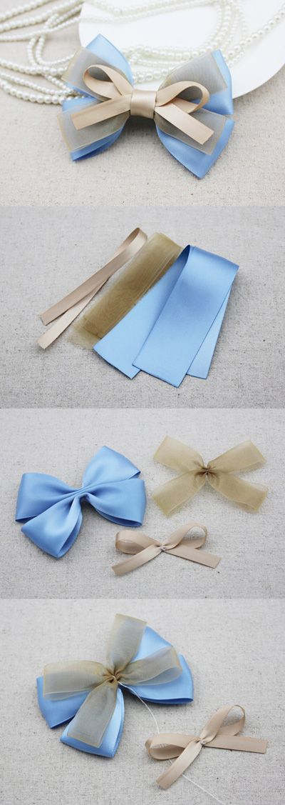 Light blue ribbon (3.8cm, 26cm). Sheer champagne ribbon (2.2cm, 24cm). Champagne ribbon (0.9cm, 22cm).: