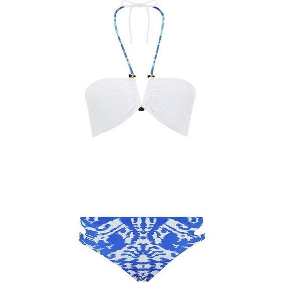 Caffe Bar Detail Mismatch Bikini ($310) ❤ liked on Polyvore featuring swimwear, bikinis, strappy bikini bottom, white bikini top, halter top, white bikini and white bikini bottoms