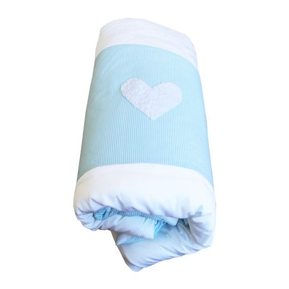 Turquoise / White Stripe Hearts - Cot Duvet Cover
