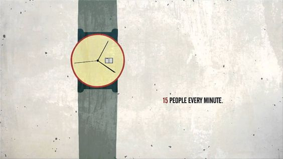 Every four seconds: animation of 2012 refugees statistics.  Take 1 minute to support a family forced to flee http://unhcr.org/1family