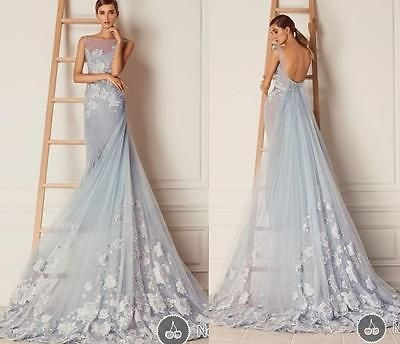 Blue Sexy Backless Long Formal Evening Dress A Line Celebrity Party Prom Gown