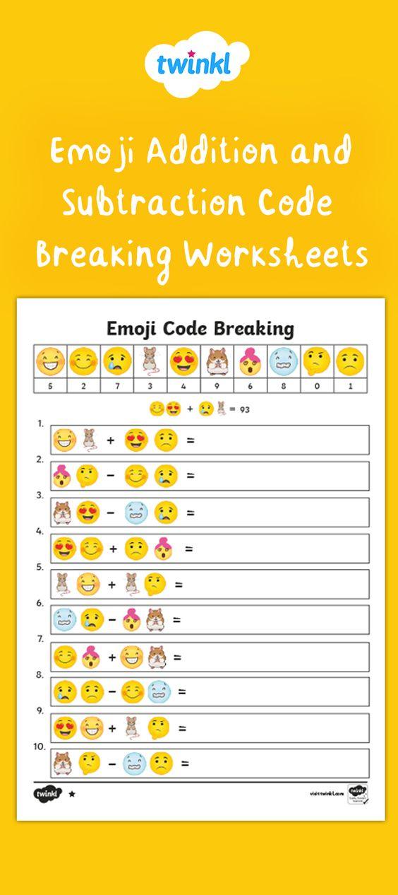 Emoji Maths Code Breaking Worksheets Ks2 Emoji Math Emoji Codes Addition And Subtraction Subtraction worksheets year twinkl