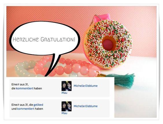 Herzlichen Glückwünsch Michelle Eisblume Mau! Du hast zwei Armbänder von Cute Clay und den Donut Handtaschenspiegel gewonnen! Bitte melde dich bei mir ;)   An alle Anderen die teilgenommen (Like  Kommentar) haben: Ihr habt ebenfalls etwas gewonnen! Bitte sendet mir einfach eine private Nachricht und ich informiere euch!  Ich danke allen für die rege Teilnahme <3