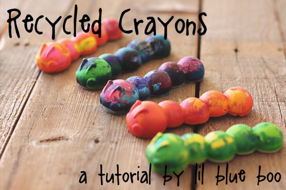Recycled crayons using silicone ice cube tray molds