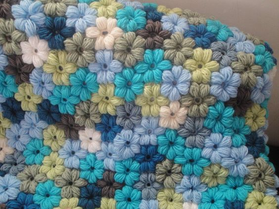Crochet Flower Puff Pattern : Handmade crochet puff flower blanket Crocheted stuff ...
