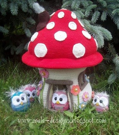 Adorable mushroom house with owls. (Patterns available to purchase).
