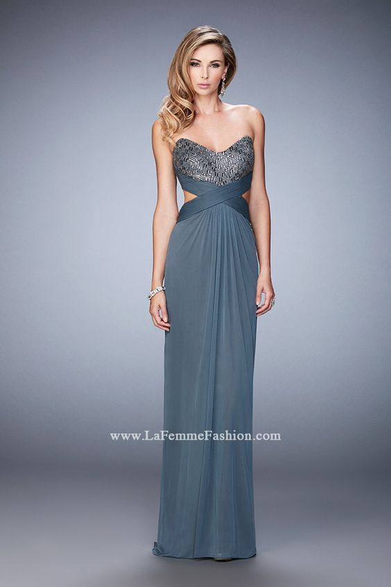 You are sure to feel glamorous and beautiful in La Femme Style #22454 available at Whatchamacallit Boutique