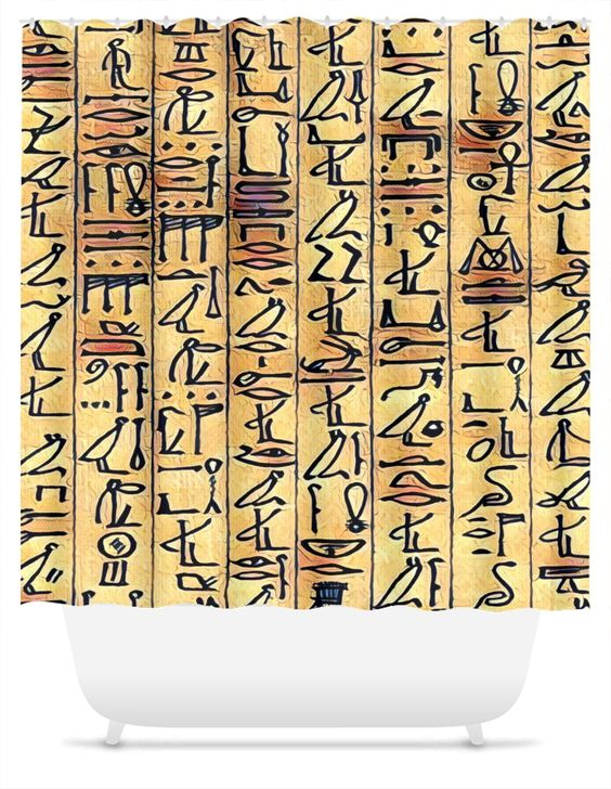 Egyptian hieroglyphics camel shower curtain for Bathroom accessories egypt