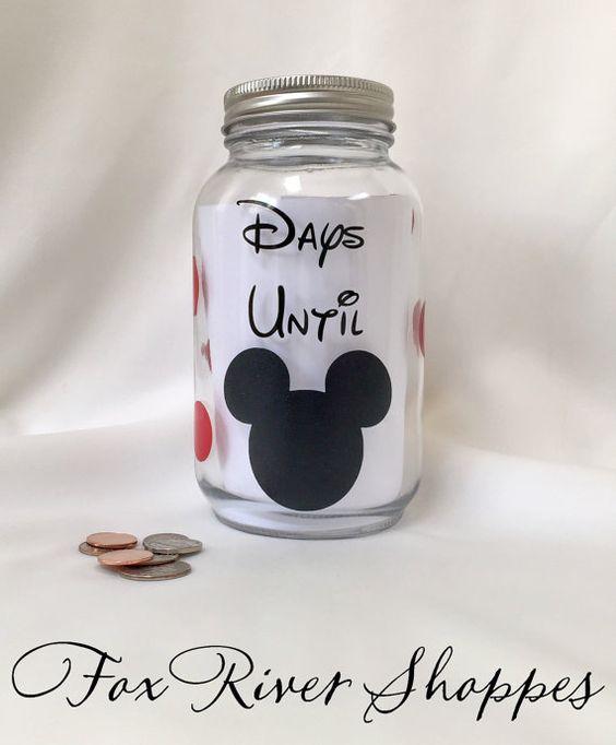 Vacation Fund Jar - Mason Jar Bank - Coin Jar - Disney Bank - Family Vacation Fund Bank - Money Bank - Days Until Disney Bank