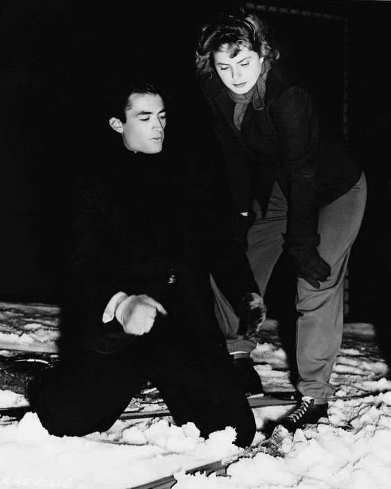 Gregory Peck and Ingrid Bergman on the set of Spellbound, 1945, directed by Alfred Hitchcock.