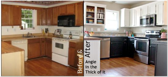 Painted kitchen cabinets white upper black lower ascp for Black lower kitchen cabinets