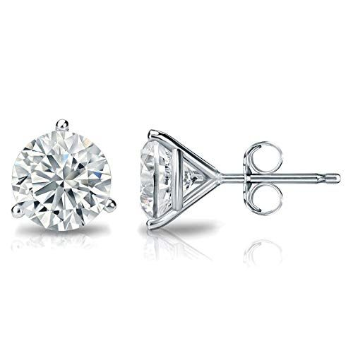1 4 2 Carat Natural Round Brilliant Solitaire Diamond Stud Earrings For Women 14k White Or Yellow Gold 3 Prong Martini With Push Backs G H Color Si2 I1 Clar In 2020 Diamond Earrings
