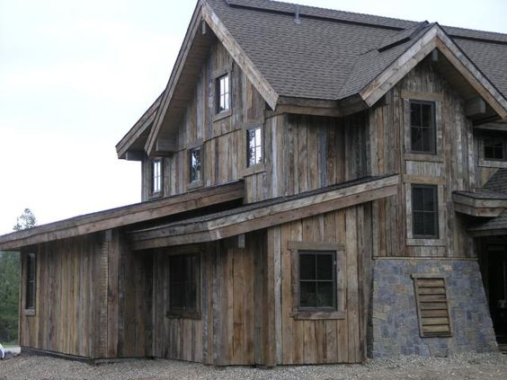 Grey wood siding for houses and grey on pinterest for Wood barn homes